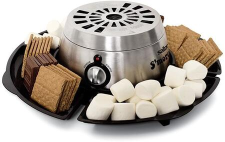 SP1717 Electric S'mores Maker and Fondue Maker with Stainless Steel Housing  345 Watts and 4 Serving Tray Compartments in Black and Stainless