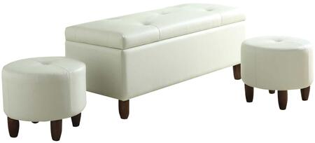 Ibrahim Collection 96027 3 PC Storage Bench and Ottoman Set with Espresso Tapered Legs  Tufted Cushion and PU Leather Upholstery in Ivory