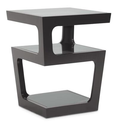 Baxton Studio RT286-OCC (CT-089B-Black) Clara Black Modern End Table with 3-Tiered Dark Tinted Tempered Glass Shelves and Engineered Wood Frame in