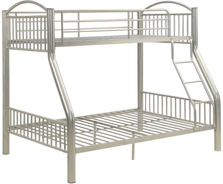 Cayelynn Collection 37380SI Twin Over Full Size Bed with Built-in Front Ladder  Easy Access Guard-Rail  Slatted Panels  Slat System Included and Metal Tube