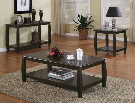 Marina Collection 701078SET 3 PC Living Room Table Set with Coffee Table + End Table + Sofa Table in Espresso