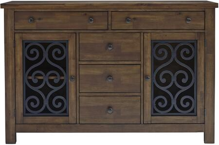 Hawkins Collection 18902 58 inch  Buffet with 5 Drawers  2 Doors  2 Shelves  Scrolled Design  Metal Hardware and Selected Hardwoods Construction in Warm Walnut