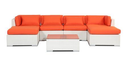 NAPALI7-WHT-ORANGE Modern Outdoor Furniture Sofa Patio Modify-It Aloha Napali 7-Pc Set  White Wicker/Orange Cushions By Kardiel