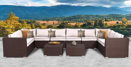 Valeria Collection SUN-6006 10 PC Deep Seating Group with 1 Left End Sectional Sofa  1 Right End Sectional Sofa  2 Corner Sofas  4 Armless Middle Sofas and