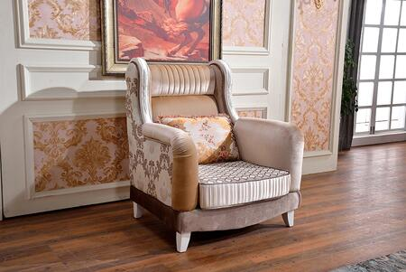 "Zarah 698-C 38"" Accent Chair with Imported Fabrics Upholstery  French Provincial Hand Crafted Design and Tapered Legs in Pearl"