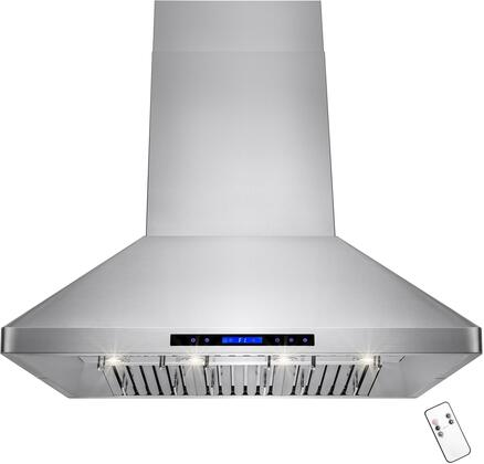 RH0170 48 inch  Dual Motor Island Range Hood with 820 CFM  65 dBA  4 Halogen Lighting  6 Stainless Steel Baffle Filters and Touch Panel Controls  in Stainless