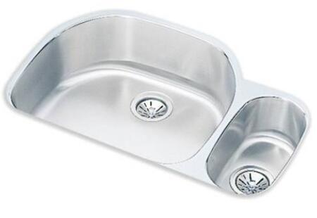 ELUH322110R Lustertone Deep Double Bowl Undermount Sink Small Bowl on