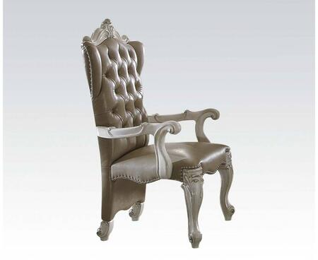 Versailles Collection 61133 Set of 2 20 inch  Upholstered Arm Chair Chair with Cabriole Legs  Button Tufting and Nail Head Accents in Bone White