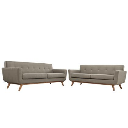 Engage Collection EEI-1348-GRA 2 PC Sofa and Loveseat Set with Cherry Tapered Legs  Rubberwood Frame Construction  White Plastic Foot Glides  Track Arms and