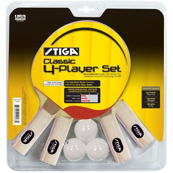 T1334 4 Player Classic Table Tennis Racket Set with Three Stiga White 40mm One-star