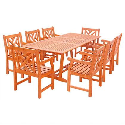 V232SET32 Malibu Outdoor 9-Piece Wood Patio Dining Set With Extension