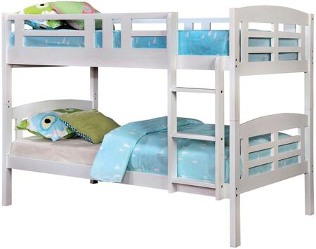 Cassie Collection CM-BK627-BED Twin Size Bunk Bed with Attached Ladder  Top Bunk Safety Rail  Solid Wood and Wood Veneer Construction in White