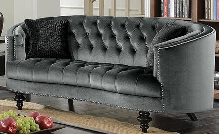 Manuela CM6145GY-LV Loveseat with Turned Legs  Nail Head Accents and Flannelette Fabric Upholstery in Dark