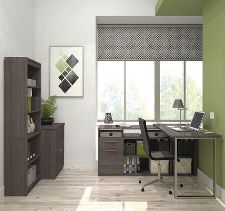 29851-47 Solay L-Shaped Desk with lateral file and bookcase in Bark