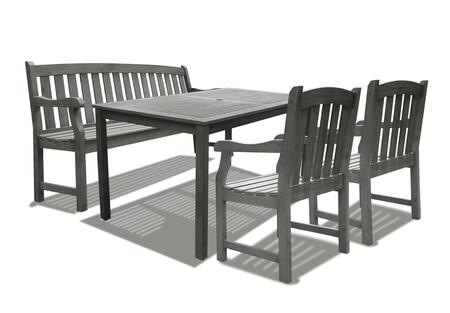 V1297SET10 Renaissance Outdoor Hand-scraped Hardwood Rectangular Table  2  Renaissance Series Outdoor Hand-scraped Hardwood Armchair and 1 V1333 Renaissance