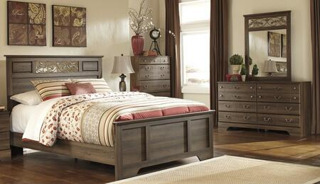 Allymore Queen Bedroom Set With Panel Bed With Dresser  Mirror And Chest In Aged