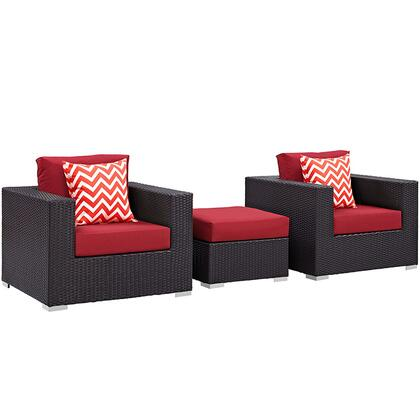 Convene Collection EEI-2363-EXP-RED-SET 3-Piece Outdoor Patio Sofa Set with Ottoman and 2 Armchairs in Espresso and