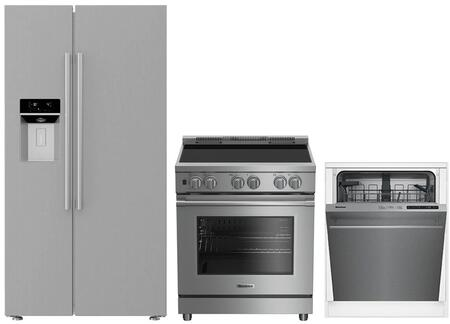 3-Piece Kitchen Package with BSBS2230SS 36 inch  Side by Side Refrigerator  BIRP34450SS 30 inch  Slide In Electric Range  and a free DWT56502SS 24 inch  Built In Full Console