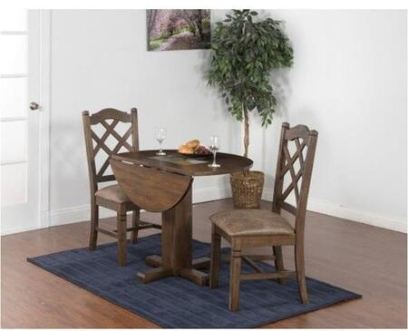 Savannah Collection 1223ACDT2C 3-Piece Dining Room Set with Drop Leaf Table and 2 Chairs in Antique Charcoal