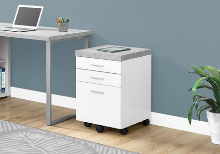 I 7051 Filing Cabinet - 3 Drawer / White / Cement-Look On