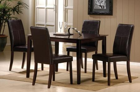 Jaspel Collection 70045SET 5 PC Dining Room Set with Dining Table + 4 Side Chairs in Dark Wenge