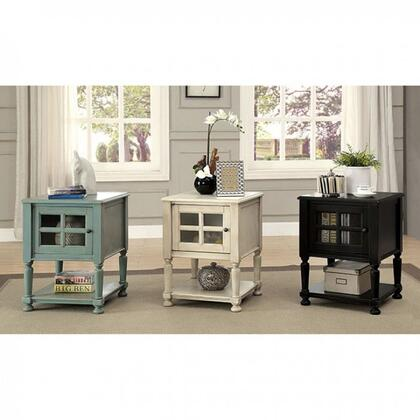 Jaida Cm-ac163bk Side Table With Vintage Style  Storage Cabinet  Turned Legs  Open Bottom Shelf In Antique
