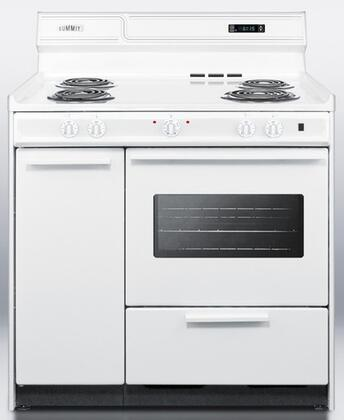 WEM430KW 36 Freestanding Electric Range with 4 Burners  2.92 Cu. Ft. Capacity  Storage Drawer  Clock w/ Timer  & Porcelain construction  in