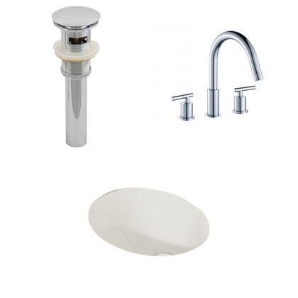 AI-13163 19.25-in. Width x 16-in. Diameter CUPC Oval Undermount Sink Set In Biscuit With 8-in. o.c. CUPC Faucet And
