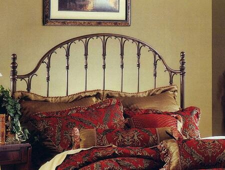 Tyler Collection 1239HFQR Full/Queen Size Headboard with Rails  Open-Frame Arched Panel Design  Small Delicate Posts and Metal Construction in Antique