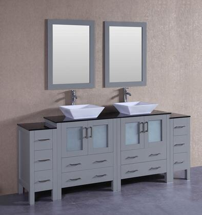 AGR230SQBG2S 84 inch  Double Vanity with Black Tempered Glass Top  Flared Square White Ceramic Vessel Sink  F-S02 Faucet  Mirror  4 Doors and 10 Drawers in