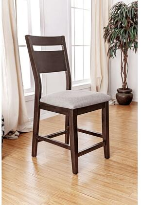 Joinville II Collection CM3985PC-2PK Set of 2 Counter Height Chair with Transitional Style  Padded Fabric Cushion and Tapered Legs in Dark Walnut and Light