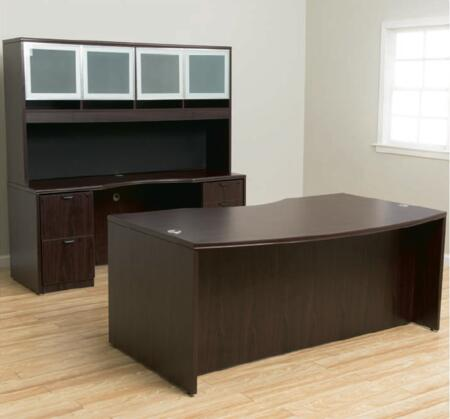 KIT2N166M Deluxe Pedestal-Full  Box/Box/File Complete with Bow Front Desk  Credenza  Hutch  and Pedestal File in Mahogany Finished