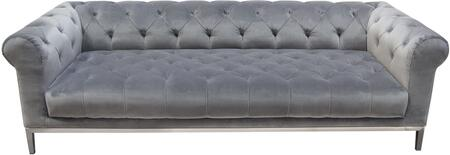 """Monroe_Collection_MONROESOGR_95""""_Sofa_with_Plush_Velvet_Upholstery__Rolled_Arms__Tapered_Metal_Legs_and_Tufted_Cushioning_in_Royal_Platinum"""