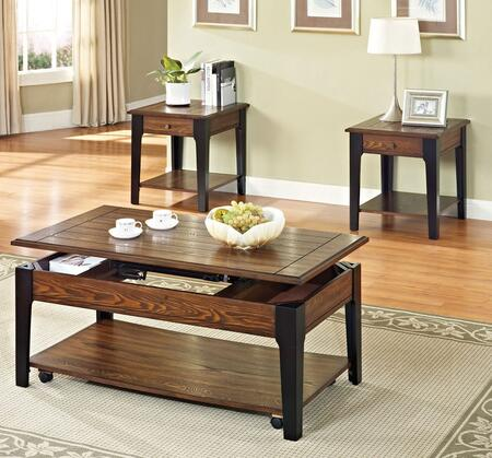 80260C3ET Magus 3 Piece Living Room Table Set with Coffee Table and 2 End Tables in Brown Oak and Black
