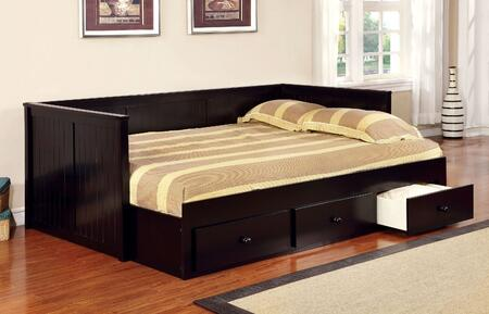 Wolford Collection CM1927BK-BED Full Size Daybed with Slat Kit Included  Simple Knobs  Paneling Design  Solid Wood and Wood Veneers Construction in Black