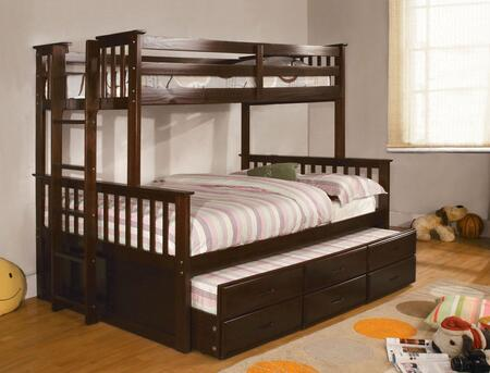 University Collection CM-BK458F-EXP-BED-TRUNDLE Twin Over Full Size Bunk Bed with 3 Drawer Trundle  Slatted Headboards  Full Length Guardrails and Wood