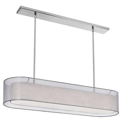 MEL448-814-720-SC 4 Light Pendant  Satin Chrome  Shade Within Shade  Outside Shade Silver Laminated Organza  Inside Shade White