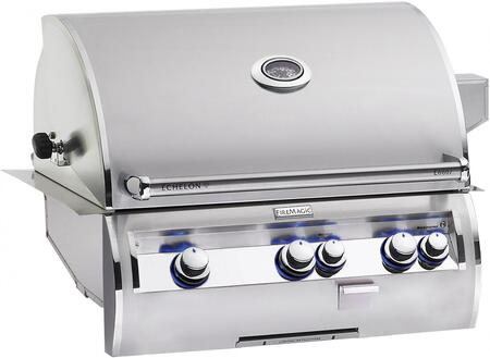 E660I4LAP  Echelon Diamond Series Built In Gas Grill with 660 sq. in. Cooking Area  3 Burners  Double Wall Seamless 304 Stainless Steel Hood  and Analog
