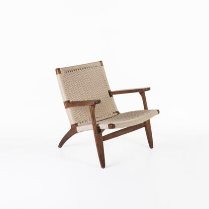 Sungar FRC086WALNUT Arm Chair with Ash Wood Base  Track Arms and Rattan Upholstery in