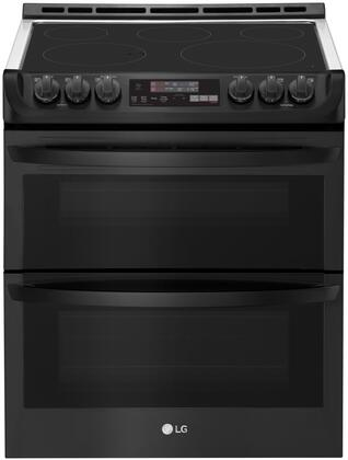 LTE4815BM Slide-In Electric Range with Double Oven  7.3 cu. ft. Capacity  ProBake  and Self EasyClean  in Matte Black Stainless