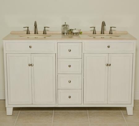 Janet B3584 60 inch  Double Vanity With Two Bisque Sinks  Four Doors  One Shelf  1 inch  Attached Backsplash  Back Cut Out For Plumbing in Antique