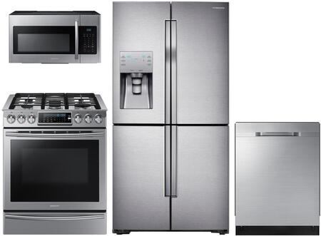"""Samsung 4 Piece Kitchen Appliances Package With NX58H9500WS 30"""" Slide in Gas Range  ME16H702SES 30"""" Over the Range Microwave Oven  RF23J9011SR 36"""" French"""