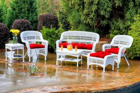 Portside PS6S-WHITE LIPSK 6-Piece Seating Patio Set with Loveseat  Coffee Table  Side Table  2 Chairs and Ottoman in White with Lipstick Fresco