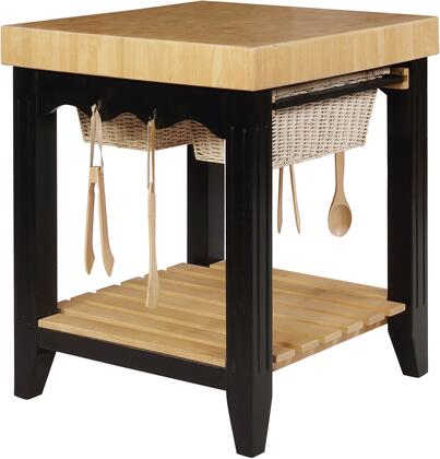 Color Story Collection 502-416 37 Kitchen Island With Butcher Block Top  2 Basket Pull Out Drawers  Slat Easy Access Storage Base Shelf  4 Utensil Hooks  And