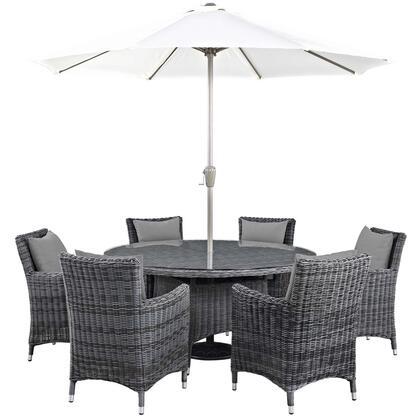 Summon Collection EEI-2329-GRY-GRY-SET 8 PC Outdoor Patio Sunbrella Dining Set with Round Dining Table  6 Armchairs  Umbrella and Pole in Canvas Grey