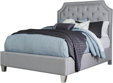Windsor Silver Collection 873312 King Size Upholstered Panel Bed with Button Tufting  Nailhead Trim Accent  Cove Cornered Headboard Crown and Tapered Block