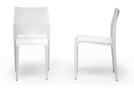 DC-42-WHITE Baxton Studio Blanche Molded Plastic Modern Dining Chair  In