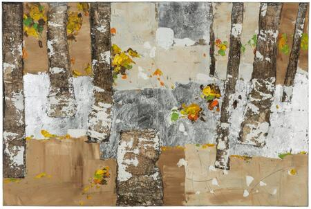 40880 The Grove in Hand Painted  Textural Paint on Canvas with Natural Tree Bark