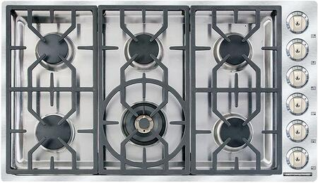 ARDCT366N 36 inch  Vitesse Natural Gas Cooktop with 6 Sealed Burners  500 BTU's Simmer Setting  Brass Burner Heads  Porcelain Burner Caps  Automatic Electronic