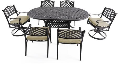 SCD002-03-MH-0225 7-Piece Cast Aluminum Patio Dining Set with 72